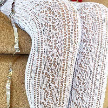 белые ажурные колготки